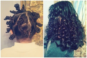 Did this on my sister. Super easy heatless curls (: