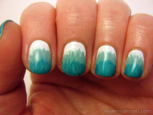 Fan brush gradient using White on White (China Glaze), For Audrey (China Glaze), Aquadelic (China Glaze), and Turned Up Turquoise (China Glaze). All colors in the China Glaze Wait Teal You See ombre kit.