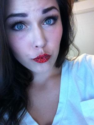 Wearing violent lips!