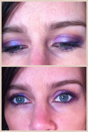 bring on the sunshine and flowers. Base eyeshadow is 'peace' from the bareminerals eyeshadow (peachy colour) All other was in the Fun Palette (UD): Highlighting with 'sellout' upper and lower eyelid with 'fishnet' (who thought out that name?) corner and crease with 'freakshow' liner: 'perversion'