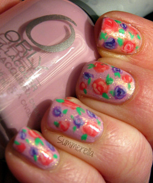 Orly Lollipop, China Glaze White Cap and acrylic paint http://summerella31.blogspot.com/2013/03/girly-floral.html