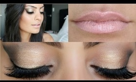 Day to Night Makeup Tutorial ♥ Gold & Black Smokey Eye | Collab With Stefy Puglisevich