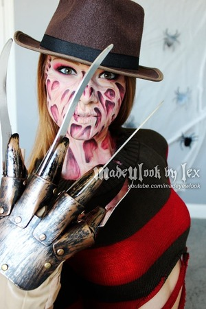 http://www.youtube.com/watch?v=CL4pK4rNkJU&feature=c4-overview&list=UUiXoZHFowJUlDVMuRFAwVAw  DRUG STORE HALLOWEEN LOOK! Freddy Krueger Halloween makeup tutorial! There are a lot of liquid latex, and other sticky tutorials out there for Freddy, so I wanted to stick to my style and paint his burns on! This tutorial, I consider, a intermediate tutorial, for the reasoning of the amount of shading required. This look can be done 100% with drug store products.