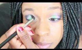Yellow, Green and Purple Smokey Eye