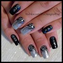 Nail Art: Tattoo, Black and Silver Nails