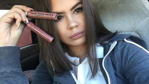 """I am in love with the NYX liquid suede lipsticks I'm wearing the shade """"sandstorm with a little of """"soft-spoken in the center 💕"""