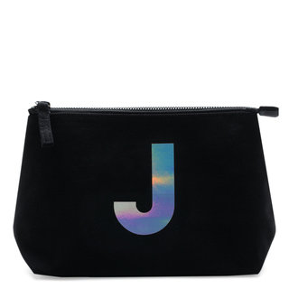 Holographic Foil Initial Makeup Bag Letter J