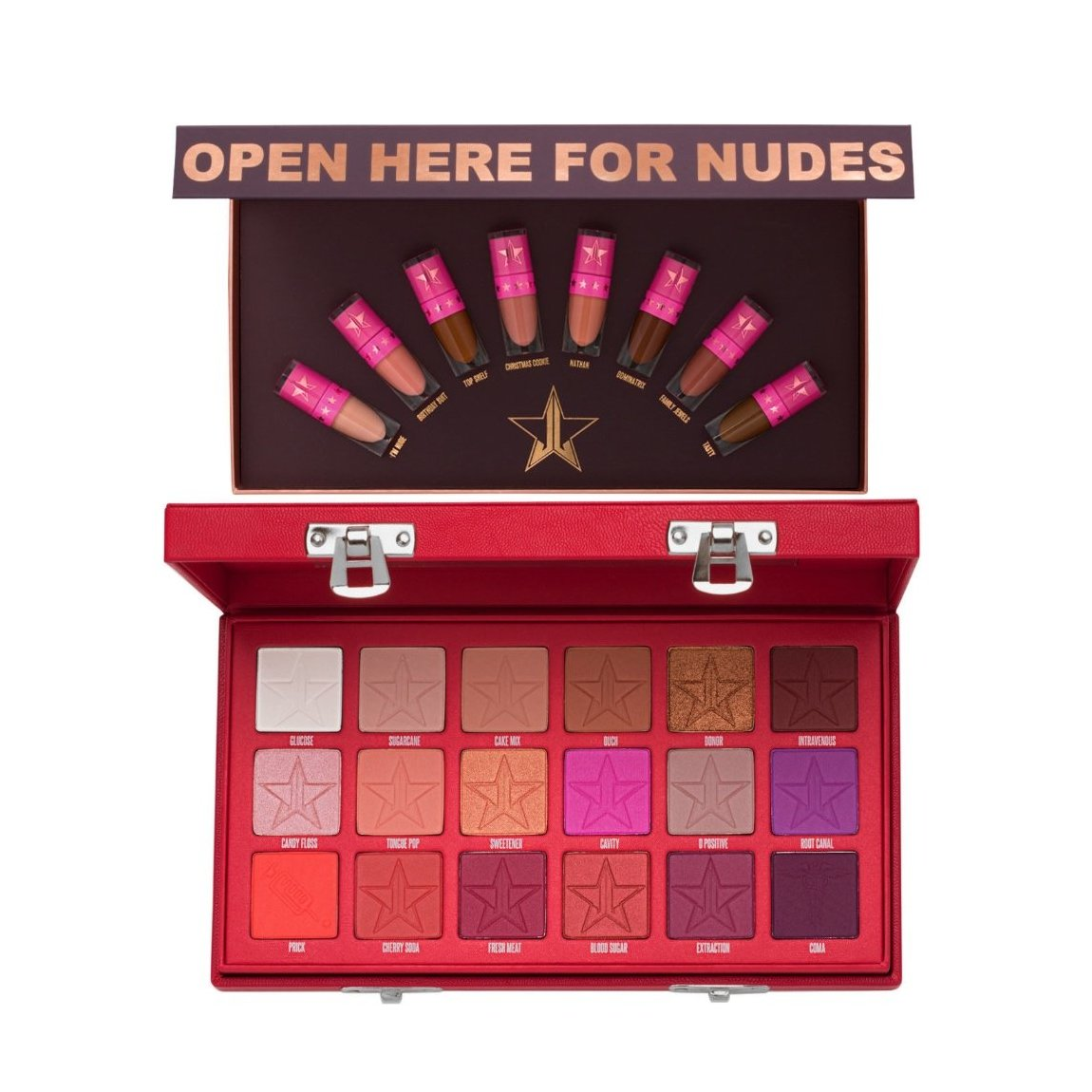 Jeffree Star Cosmetics Mini Nudes Bundle: Volume 2 & Blood Sugar Eyeshadow Palette Bundle product swatch.