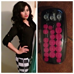 I use this conair hot rollers for this look. I also tease my hair