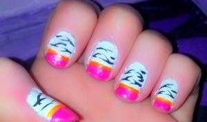 Pretty Pink and Orange Zebra Striped Nails