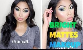 Bright Mattes Makeup Tutorial | Yellow + Mint + Blue