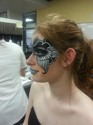 side view of my makeup for the competition