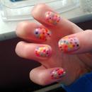 Colourful Polkadot Nails