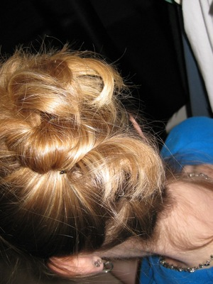 Twisty up-do using only bobby pins.