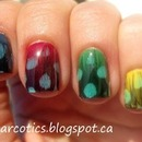 Blue, Red, Green, Yellow Nails