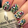 Neon Leopard Print Nail Art