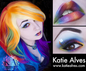 I got this rainbow wig and was inspired to so a Rainbow Dash look!