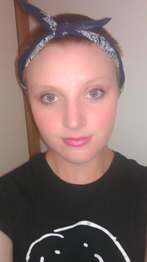 bold blush, eye liner, mascara shimmer eye shadow.