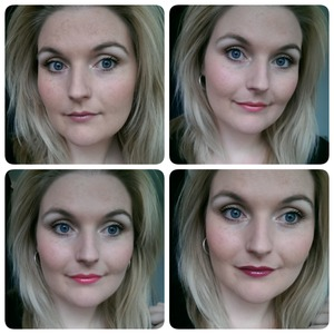 Top row: Left: High voltage lipstick in Flutter kis Right: High voltage lipstick in Tiara  Bottom row: Left: Intense butter gloss in Napoleon Right: Intense butter gloss in Toasted marshmallow