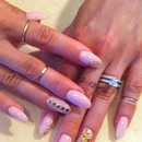 Nude& Gold Stiletto Nails