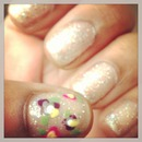 glitter with floral accent