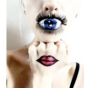 #eyebalk #cyclops #thirdeye #lashes #lips #facepaint #facepainter #makeup #illusion #portrait #lipstick #cameleon #paint #alien #creature #blueeyes