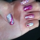 Magenta and white nails