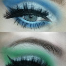 Blue and green cut crease