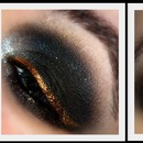 Dramatic Black Smokey Eye (w/ gold liner)