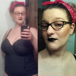 So, today.... I found a swimsuit that fits...everything! And it was from Target for $14! And I got some makeup from Target: Sonia Kashuk's Chic Luminosity Glow  E.l.f. Green Mineral Face primer  Also from Walmart I got: Loreal lipsticks in I Pink You're Cute 175 and Doutzen's Nude 600 (both are not as pigmented as I expected, but can be fixed with lip liner) Hard Candy's contouring face trio in 3 x a charm 840 And Wet N Wild's lipstick in Pagan Angel in picture.  I also got 2 purses from marshalls and Viva La Juicy 3.4oz perfume for $49!  Happy day today! ;)  Products on my face: E.l.f. Mineral Face Primer Green UD Naked Foundation in 1.0 SK Chic Luminosity glow  KVD Immortal Lash Mascara  WnW Pagan Angel Lipstick