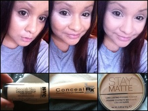 First, I used NYCs foundation all over. 3 pumps. Second, I used Physicians Formulas concealer. Blend in the my foundation. Third, i set it with Rimmel London's Stay Matte Powder with a synthetic brush. That's the order I put on my face makeup ;)