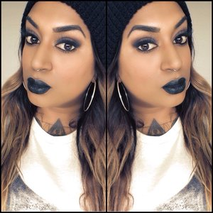 Simple makeup with a black lip. This is Styletto from Lime Crime x