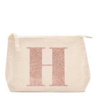 Rose Gold Glitter Initial Makeup Bag Letter H