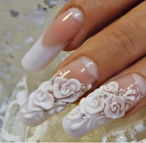 Photos with essence nail art stickers beautylish cute white 3d wedding nails follow me for more nails prinsesfo Choice Image