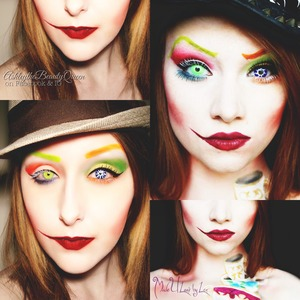 Another makeup inspired by Lex! :) (MadeULook By Lex) This was her interpretation of the Mad Hatter from Alice In Wonderland, and I loved it and wanted to recreate it myself! Hers is on the right (again, the photo does not belong to me, all rights go to Alexys Fleming aka MadeULook, as the photo also has her watermark). Mine is on the left. I did not have the body paint or hat, so mine automatically isn't as good, but I still wanted to do the makeup part anyway because I loved it so much!! To see more photos by me, you can also find me on Facebook and IG: ashleythebeautyqueen