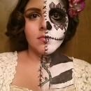 Half Sugar Skull Half Beauty