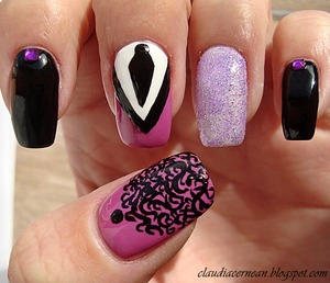 tutorial on : http://claudiacernean.blogspot.ro/2013/02/unghii-cu-cravata-tie-nails.html
