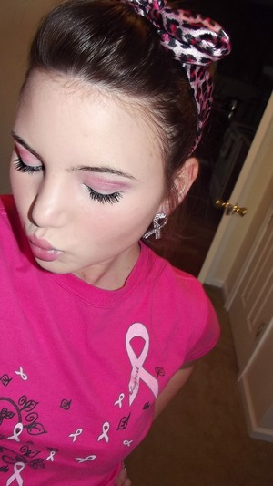 Breast cancer awareness day makeup.