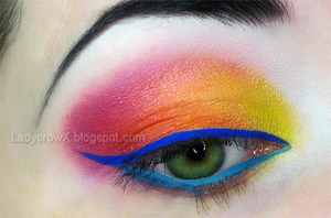 Inglot DS 474, Sugarpill Flamepoint, MAC Romping, Royal Wink, and Blue Peep