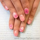 Pink soft flower nails