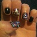 Glitter fingers.