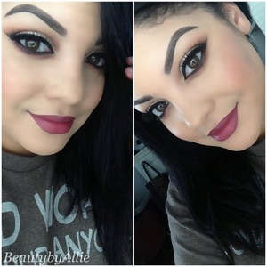 Instagram: Beautybyallie  I used the Anastasia lavish palette in the colors sienna and orange soda in the crease. I also used Kat Von D palette in saint the light shimmery color on the lid and a matte brown to cut the crease a little bit. I'm wearing house of lashes for my falsies. For my complexion i have in lancome teint idole foundation, sephora powder foundation, prolong wear concealer, too face matte bronzer, and mac sunbasque blush. I have elf lipstick on in the color voodoo with nyx blackberry lipliner. One of the many fall looks to come :-)
