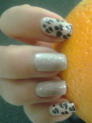 Nude and leopard spots. Spots done with a dotting tool.