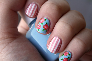 Cute spring roses and stripes design.  http://iloveprettycolours.blogspot.com/2011/12/31-day-challenge-day-twenty-five.html
