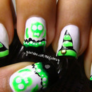 Poisonous Skulls and Witch Hat Nail Art (Glow in the dark mani)