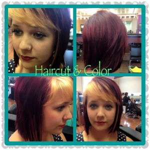 Bob-style cut with rocking red color and blonde out bang :)