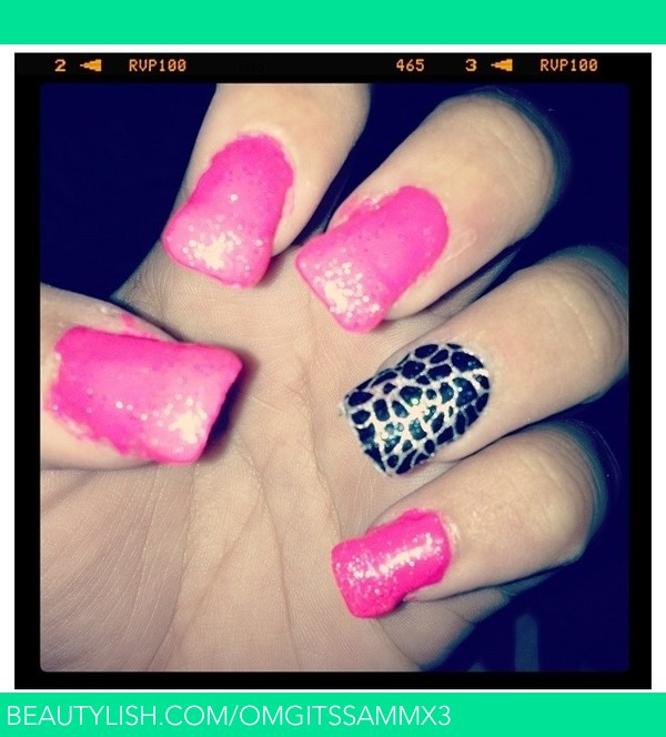 Pink Sparkle Pattern Acrylic Nails Samantha