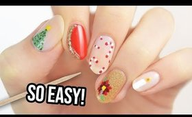 5 Easy Christmas Nail Designs Using A TOOTHPICK!