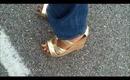 OOTD Fall Trend :Colbalt Blue Wide Leg Denim& Dolce Vita Cork Wedges