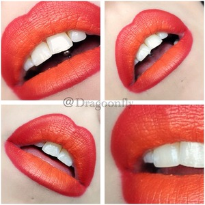 Mixing orange and red gives a really bright look on the lips
